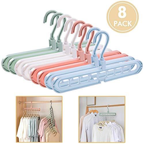 Acslam 8 Stück Kleiderbügel Platzsparende, Multi Kleiderschrank Platzsparend Stabil Kleiderbügeln Organizer Schrank Bügel Raumsparbügel Clothes Hanger mit 9 Löchern (8 Stück-4 Farben)