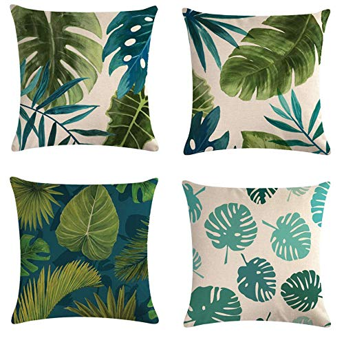 JgZATOA Cartoon Palm Leaf Cushion Cover Pillow Case Living Room Sofa Couch Bed Pillowcases Office 45Cm X 45Cm Set Of 4