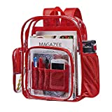 Heavy Duty Transparent Clear Backpack, See Through Backpacks for School, Work, Security, Travel, College (Red)