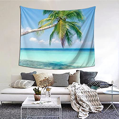 Tropical Paradise - Tapiz para colgar en la pared, diseño de playa con palmeras y océano, multiuso, para decoración de salón, dormitorio, hogar, fiesta, 152 x 130 cm