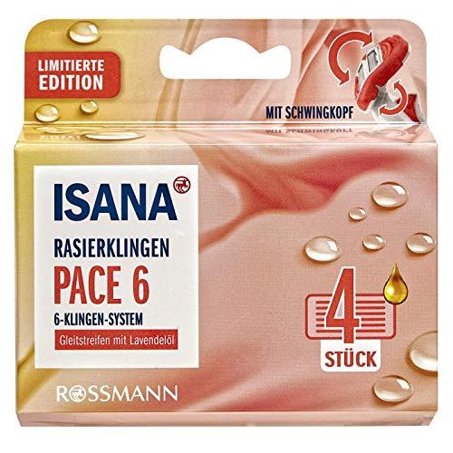 ISANA Pace 6 Lady Rasierklingen 4 Stück 6-Klingen-System, Gleitstreifen mit Lavendel
