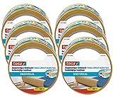 Tesa® - Cinta adhesiva universal de doble cara en paquete de 6 unidades – Cinta adhesiva versátil para embalaje, decoración y alfombras o para manualidades – 6 rollos de 10 m cada uno