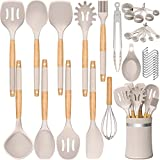 33 PCS Silicone Kitchen Utensils Set, Umite Chef Heat Resistant Cooking Utensils Set With Holder, Wooden Handle Kitchen Gadgets Tools Spatula Set for Nonstick Cookware(BPA Free & Khaki)