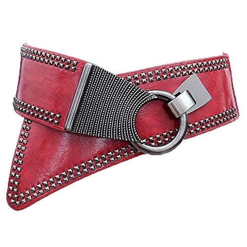 LUOSFUH Cinturón ancho de cuero de PU de la mujer Elástico Punk Rock Cintura sólida con remaches con tachas(Rojo) (Ropa)