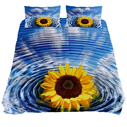 N\O Sunflower Concentric Wave Circles Bedding Sets Breathable Bedclothes 3 Pieces Bedding Duvet Cover Sets (1 Duvet Cover + 2 Pillowcases) Room Decor Ultra Soft Microfiber(NO Comforter Included)