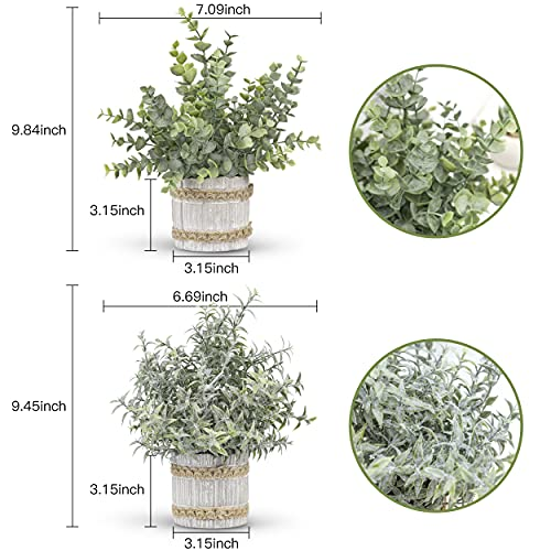 Der Rose 4 Packs Small Fake Plants Artificial Greenery Potted Plants for Home Decor Indoor Silk Flower Arrangements