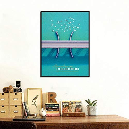 sanzangtang Cross-sea Birds Poster und Drucke Landschaft Wandkunst Bilder auf Leinwand für Wohnzimmer Dekoration Rahmen Rahmenlos 20x30cm gedruckt