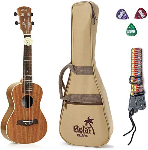 Concert Ukulele Bundle - LEFT HANDED, Deluxe Series by Hola! Music (Model HM-124LFT+), Bundle Includes: 24 Inch Mahogany Ukulele with Aquila Nylgut Strings Installed, Padded Gig Bag, Strap and Picks