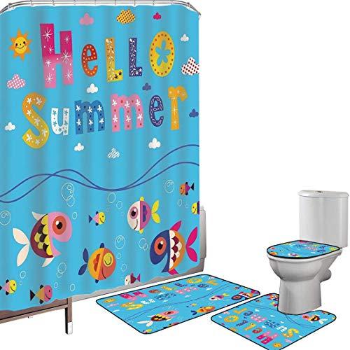 Juego de cortinas baño Accesorios baño alfombras Decoración infantil Alfombrilla baño Alfombra contorno Cubierta del inodoro Impresión de saludo de bienvenida a color con mosaico como imagen de nubes