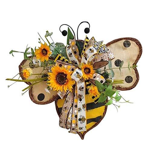 Fannyfuny Bee Sunflower Wreath, Wreaths for Front Door, Handmade Sunflower Hanging Pendants Ornaments, Happy Honey Bee Decor, Artificial Garland Hanging Pendants,Festival Party Decoration