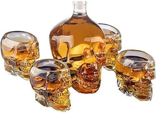 DYB Decantador de whisky con 4 vasos de chupito de calavera de 150 ml, por uso de calavera para un whisky, decantador de 750 ml