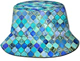 KEROTA Sombrero de pescador con estampado de turquesa para exteriores, protección solar para pescadores, para viajes y pesca, unisex.