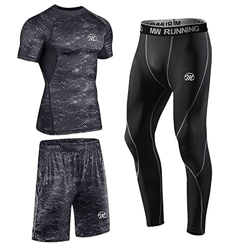 meeteu 3-częściowy zestaw męskiej koszulki funkcyjnej, bielizna do biegania, legginsy sportowe, zestaw dla mężczyzn