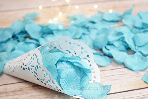 Quasimoon PaperLanternStore.com Turquoise Silk Rose Petals Confetti for Weddings in Bulk