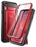 SUPCASE Coque iPhone XR, Coque Intégrale de Protection Robuste Anti-Choc avec Protecteur d'écran Intégré et Béquille [Unicorn Beetle Pro] pour iPhone XR 6,1 Pouces 2018 (Rouge)