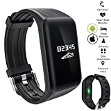 Fashionlive Fitness Tracker Smart Band Wristband Heart Rate Monitor Large OLED Touch Screen Pedometer for Women Men iOS iPhone Android Phones