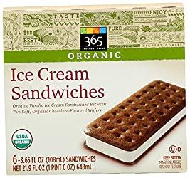 365 Everyday Value, Organic Ice Cream Sandwiches, 6 ct, (Frozen)