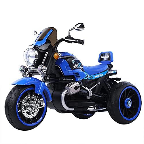 ZLH Niños Pedal Eléctrico Motocicleta, Duración De La Batería De 6V Paseo En El Juguete con Los Faros del Cuerno De La Música Motorbike para Niñas Boy 3-6 Años,Azul