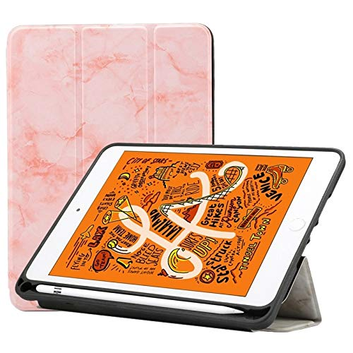 Ipad case Marble Texture Pattern Horizontal Flip Leather Case for iPad Mini 2019, with Three-folding Holder & Pen Slot & Sleep/Wake-up Function (Pink) Asun (Color : Pink)