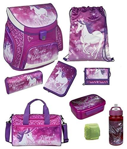 Familando Mädchen Schulranzen-Set 9 TLG. Scooli Campus Fit Pro Schultasche mit Sporttasche und Regenschutz Magic Unicorn Einhorn