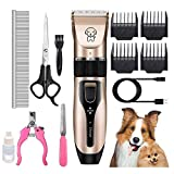 Tiandirenhe Dog Grooming Clippers, Low Noise USB Rechargeable Washable Professional Cordless, Pet Hair Shaver Clipper Trimmer Kit for All Kinds of Dogs Cats Pets