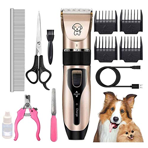 Tiandirenhe Dog Grooming Clippers, Low Noise USB Rechargeable Dog Shaver Clippers Washable Professional Cordless, Pet Hair Shaver Clipper Trimmer Kit, Hair Trimmer for All Kinds of Dogs Cats Pets