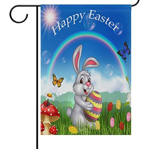 Happy Bunny Tenant Un œuf de Pâques pour Jardin, Cour, décoration de Maison 30,5 x 45,7 cm, Petit Drapeau décoratif Double Face pour Vacances, Mariage, extérieur, Tissu, Multicolore, 28x40(in)