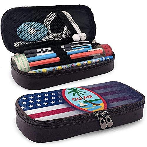 Estuche de lápices de la bandera de Guam de EE. UU. Bolsos de bolígrafos escolares Estuche de bolsa estacionaria Bolsa de cosméticos de maquillaje Cuero de PU