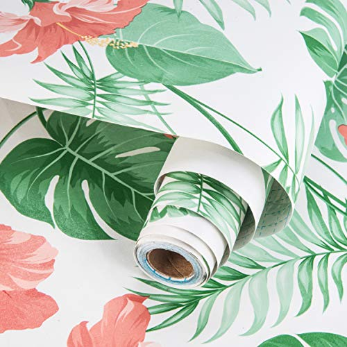17.7in × 78.7in Green Floral Wallpaper Peel and Stick Wallpaper Self Adhesive and Removable Easy to Apply Decorative Vinyl Film for Drawer Shelf Liner Cabinets Wall Coverings Christmas Wall Decor