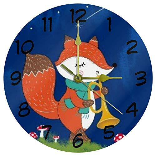 Eslifey Fox Blowing Trompete Dekorative Runde Wanduhr 9,85 Zoll Stille Uhr für Wohnzimmer Küche Schlafzimmer