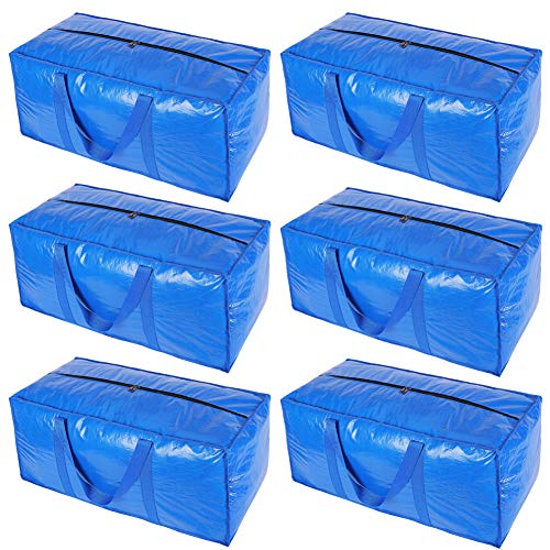 KHIKILY Heavy Duty Extra Large Storage Bags Moving Bag Totes for Travelling, College Carrying, Moving, Camping, Christmas Decorations Storage (Blue - Set of 6)