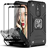 YmhxcY Compatible for LG Stylo 5/Stylo 5 Plus/Stylo 5V Case with Tempered Glass Screen Protector[2 Pack],Armor Grade with Rotating Holder Kickstand Non-Slip Hybrid Rugged Case for LG Stylo 5-Black