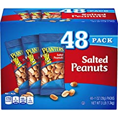 SALTED PEANUTS: PLANTERS Salted Peanuts are made with three simple ingredients: peanuts, peanut oil and sea salt PLANTERS NUTS: Get snacking smart with this pack of forty-eight 1 ounce single-serving bags of PLANTERS Salted Peanuts SIMPLE INGREDIENTS...