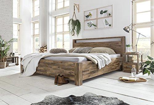 Woodkings Holzbett 180x200 Havelock Doppelbett Holz rustikal Schlafzimmer Massivholz Design Ehebett Balkenbett Massive Naturmöbel Echtholzmöbel günstig (Akazie Rustic)