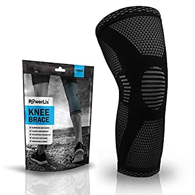 POWERLIX Knee Compression Sleeve - Best Knee Brace for Knee Pain for Men & Women – Knee Support for Running, Basketball, Volleyball, Weightlifting, Gym, Workout, Sports – Please Check Sizing Chart by PowerLix