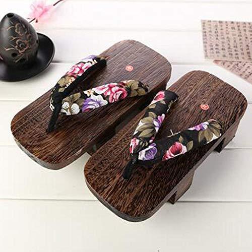 SYXYSM Zapatos Tradicionales Japoneses Informal Paulownia Madera Geta Zuecos Oriental China De Verano Chancletas Pisos Hombre Al Aire Libre Sandalias (Color : Color5, Size : 38)