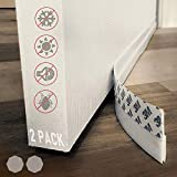 Under Door Draft Stopper , Under Door Seal for Exterior/Interior Doors Door Sweep Strip Soundproof Dustyproof Door Bottom Weather Stripping Self Adhesive Foam Under Door Draft Blocker,White 2 Pack
