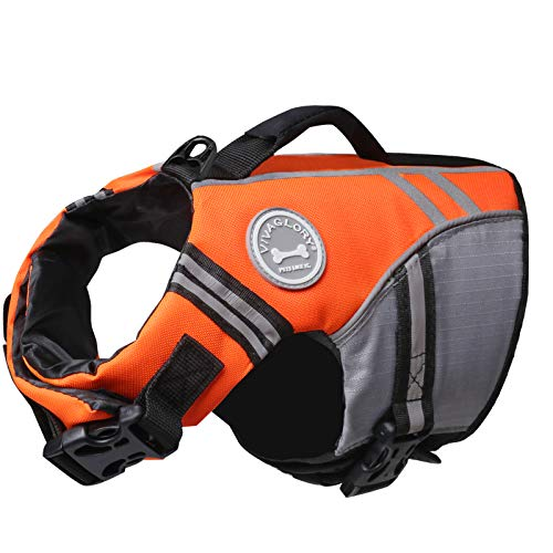 Vivaglory New Sports Style Ripstop Dog Life Jacket with Superior Buoyancy & Rescue Handle, Bright Orange, XS