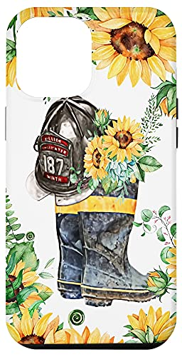 iPhone 12 Pro Max Sunflowers Fire Boots And Hat Fireman Firefighter Mom Wife Case