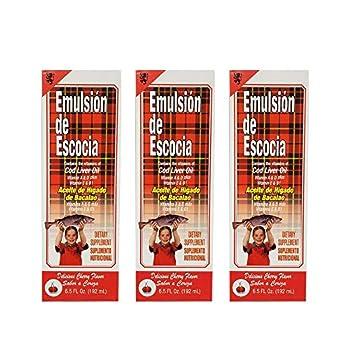 Emulsion de Escocia Cod Liver Oil Dietary Supplement Rich in Vitamins A D E and B1 Cherry Flavoured 6.5 Fl Oz / 192 mL Pack of 3