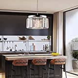 Modern Crystal Chandelier with 2 Tiers Ceiling Light Pendant Crystal Lighting Fixture 5 Lights for Dining Room, Living Room