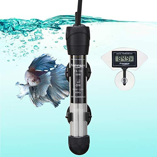 FREESEA Aquarium Fish Tank Heater 50 Watt Adjustable Thermostat with 2 Suction Cups Thermometer product image