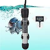 FREESEA Aquarium Fish Tank Heater: 50 Watt Adjustable Thermostat with 2 Suction Cups & Thermometer for BettaTank| SaltwaterTank | Aquarium | CoralTank