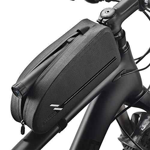 RIFNY Fahrrad Rahmentasche,wasserdichte Lenkertasche Oberrohrtasche Fahrradzubehör für Mountainbike Tasche (Schwarz 1.6L)