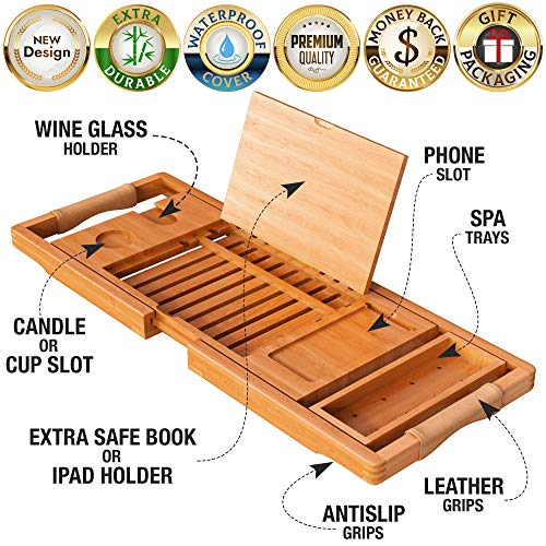 Your Majesty YM Lux Craft Bamboo Bathtub Caddy Tray [Durable, Non-Slip], 1-2 Adults Expandable Bathtub Tray, Beautiful Gift Box, Fits Any Tub Bath - Holds Book, Wine, Phone, Ipad, Laptop