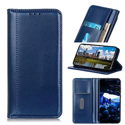 Schutzhülle für Xiaomi Redmi 9A aus hochwertigem Leder, stoßfest, Brieftaschenformat, Magnetverschluss, Klapphülle mit Standfunktion, vollständiger Schutz, kompatibel mit Xiaomi Redmi 9A, Blau