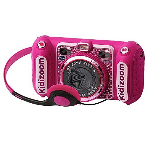 VTech - Kidizoom DUO DX, cámara de fotos para niños, vídeos, filtros, reproductor de música, juegos, USB, control parental, versión ESP, color rosa (3480-520057)