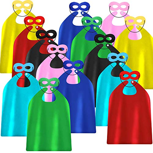 ADJOY Kids Superhero Capes and Masks for Birthday Party - Child Party Capes Bulk Pack of 28 Pcs (14 Sets)