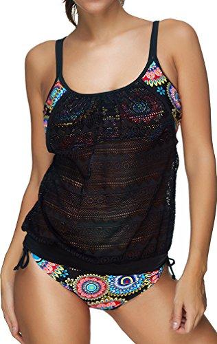 PANOZON Frauen schoene Tankini Zweiteilig Schwimmanzug Streifen Bademode Damen Strandmode Bikini Set (L,3 Colorful)