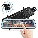 AUTOLOVER Mirror Dash Camera 9.66 inch Backup Camera 1080P Dash Cam Front and Rear Full Touch Screen Rear View Mirror Camera with Loop Recording, Parking Monitor, Night Vision, Waterproof Rear Camera